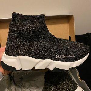 Balenciaga black and gold trainers